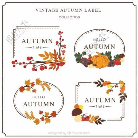 具有复古风格的秋标签现代包装