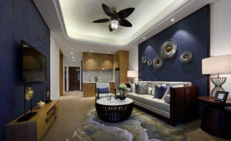 现代时尚客厅深蓝色背景墙室内装修效果图
