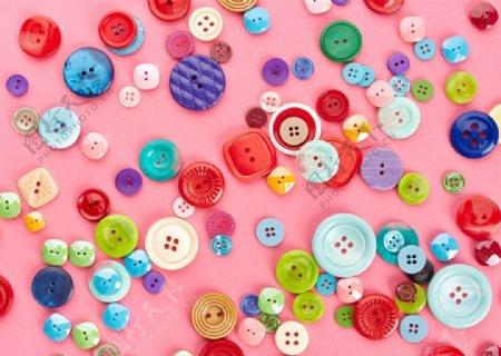 非主流创意彩色纽扣堆放