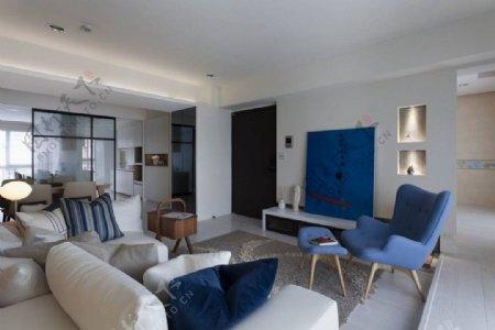 现代清新客厅蓝色背景墙室内装修效果图
