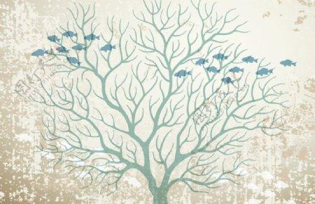 抽象树木飞鱼