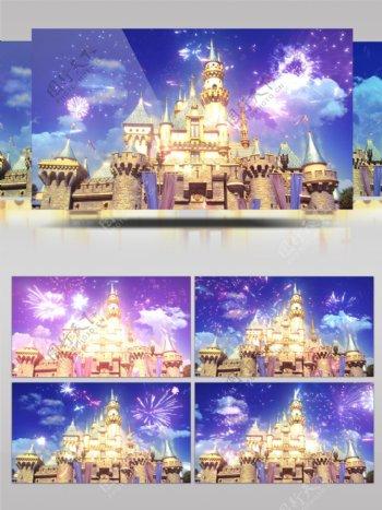 城堡烟花卡通欢庆节日