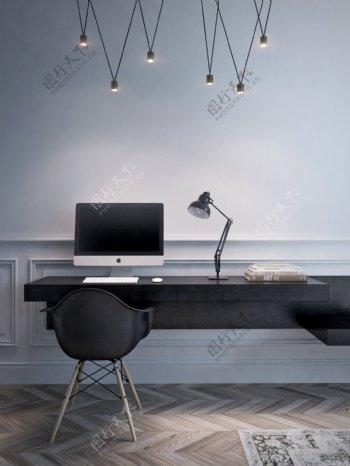 现代时尚客厅浅蓝色背景墙室内装修效果图