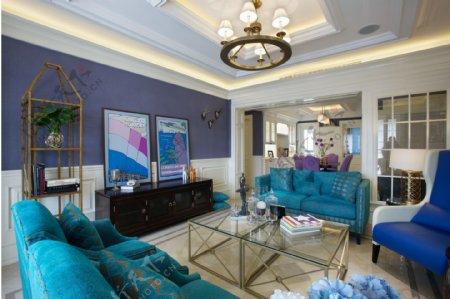 现代时尚紫蓝色背景墙室内装修效果图