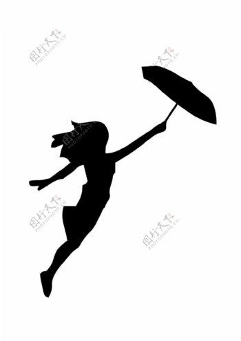矢量剪影素材飞扬的打伞少女