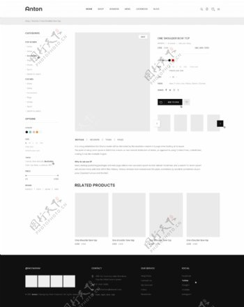 UI网页详情页黑白灰简约PSD模板