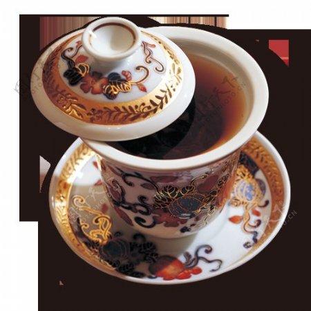 雅致内涵金色花纹茶杯产品实物