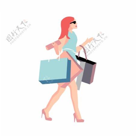 购物的时尚女子卡通元素
