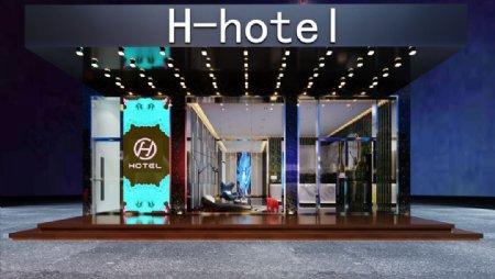 酒店前台接待区3d渲染模型