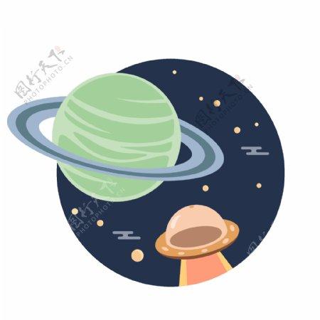 矢量星球太空月球飞船UFO图标元素