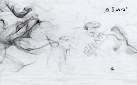 新中式抽象水墨烟雾大理石背景墙