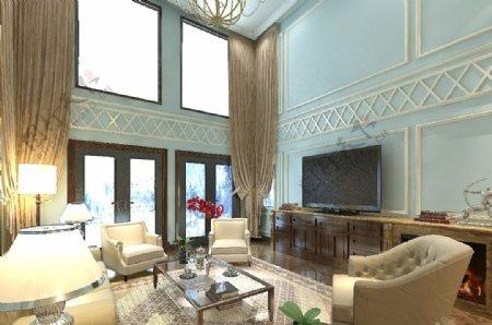 欧式别墅共享空间效果图蓝色温馨大窗帘