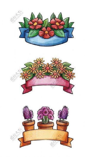 手绘丝带花朵