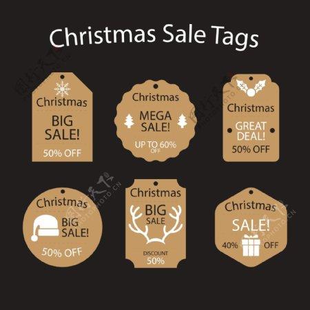 矢量剪影集的金色圣诞标签