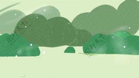 绿色小清新手绘绿树背景