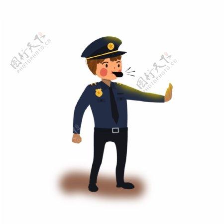 卡通手绘吹哨子的警察人物设计