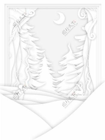 纯白白色剪纸立体背景