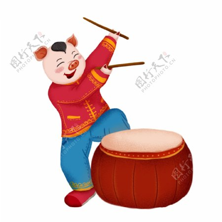 2019猪年春节敲锣打鼓元素