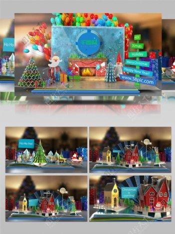 圣诞节日祝福立体卡片AE片头模板