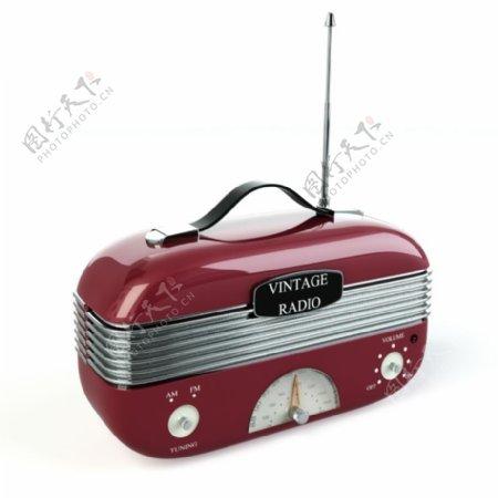 收音机3d渲染模型