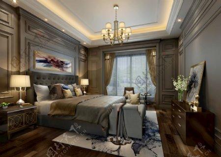 欧式别墅卧室效果图3D模型