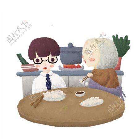 吃水饺儿童绘本可商用元素