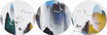 新中式意境抽象水墨山水飞鸟装饰