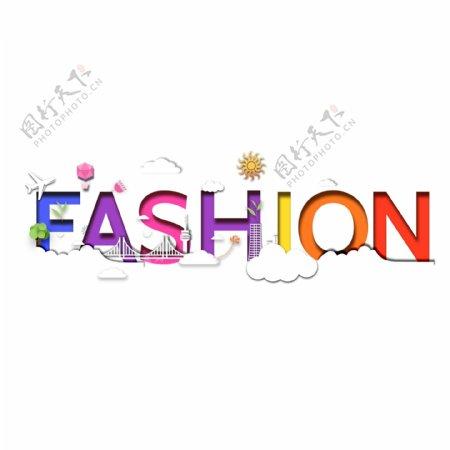 FASHION印象剪纸风时尚装饰设计元素