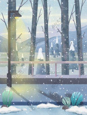 冬季小寒节气雪景树林背景设计