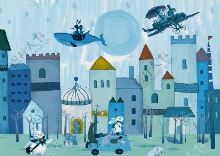卡通儿童房蓝色背景墙