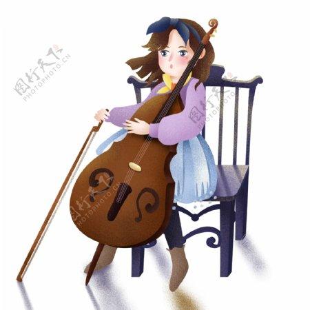 唯美手绘拉大提琴的少女设计