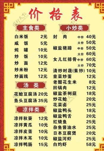 价格表菜单边框