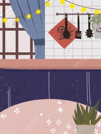 手绘家居厨房背景设计