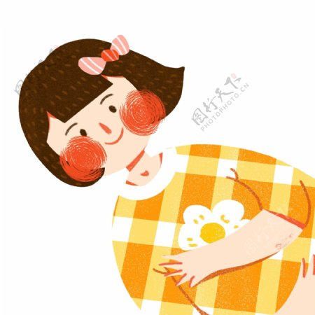 扁平化一个躺着的短发女孩