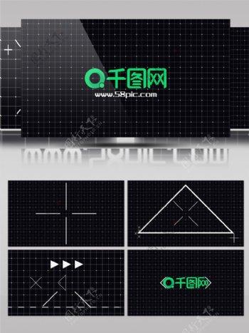 扁平化动感几何线框空间pr片头logo