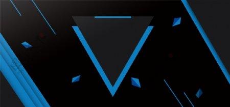 商务企业蓝色黑色撞色几何海报