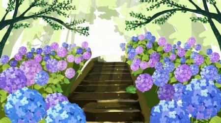 绿色森林阶梯绿荫背景