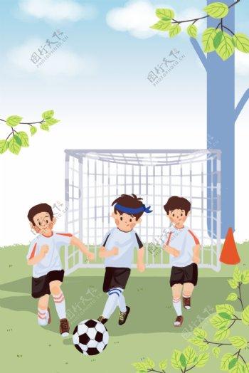 简约清新校园足球赛背景