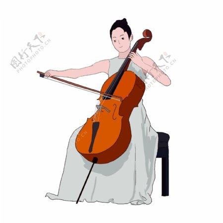 正在演奏大提琴的女孩