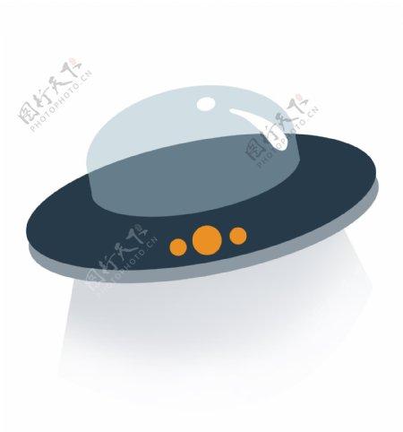 飞碟ufo扁平风插画