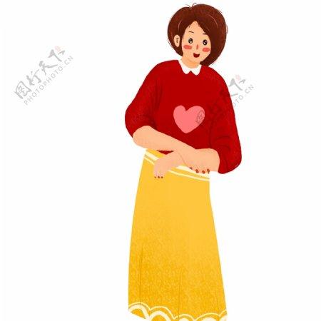 卡通脸红的可爱短发女孩设计