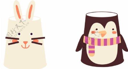 创意纸杯小兔企鹅