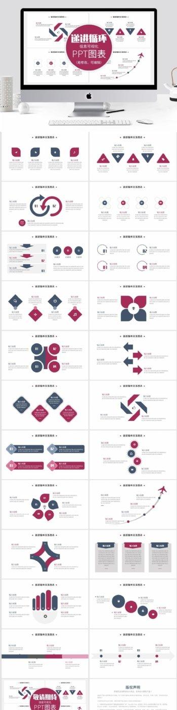 简约递进循环信息可视化PPT图表模板