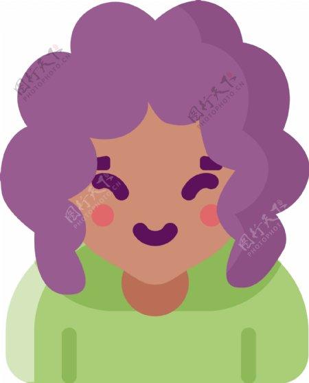 紫色创意扁平化短发女孩元素