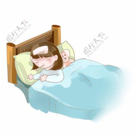 生病发烧卧床不起的小女孩