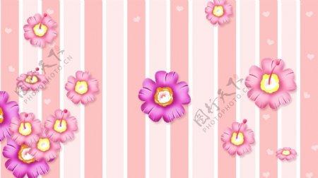 小清新浪漫花朵线条背景