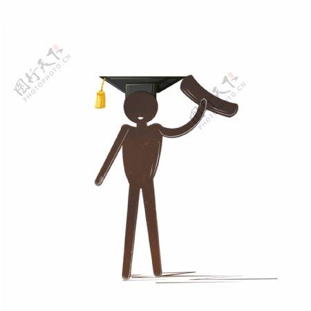戴着学士帽火柴人