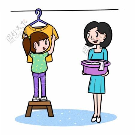 卡通母亲节帮妈妈晒衣服png透明底