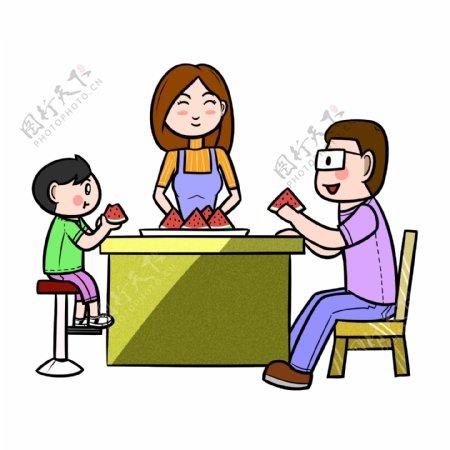 卡通夏季全家人一起吃西瓜png透明底
