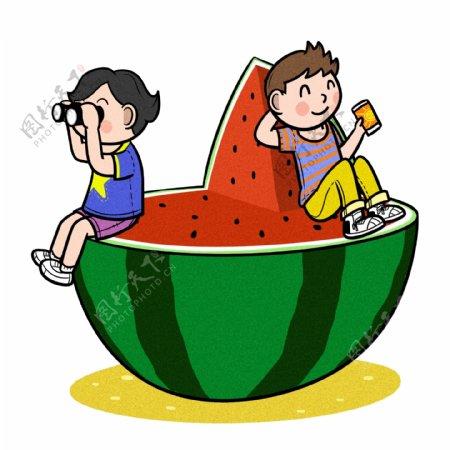 卡通儿童夏天和大块西瓜png透明底